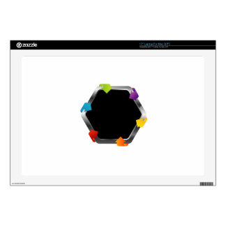 """Hexagon with colorful arrows 17"""" laptop skins"""
