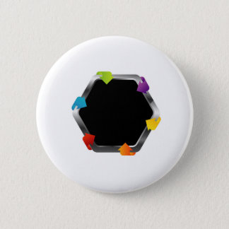 Hexagon with colorful arrows button