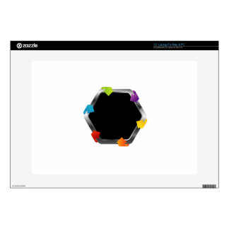 """Hexagon with colorful arrows decal for 15"""" laptop"""