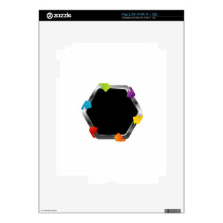 Hexagon with colorful arrows decals for iPad 2