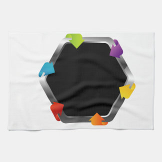 Hexagon with colorful arrows hand towels