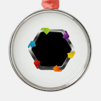 Hexagon with colorful arrows metal ornament
