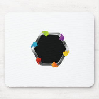 Hexagon with colorful arrows mouse pad