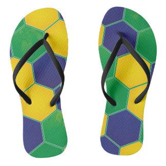 Hexagonal Brazil Design Flip Flops