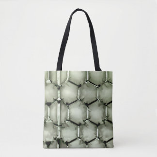 Hexagonal bubble texture background green tote bag