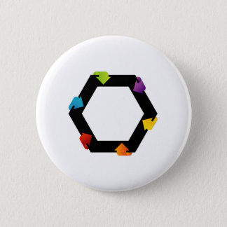 Hexagonal design element pinback button