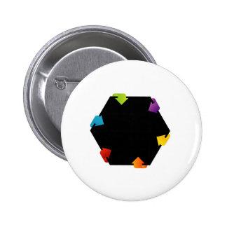Hexagonal design element pinback button