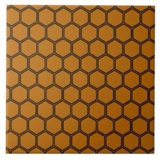Hexágono anaranjado quemado 3 azulejo cuadrado grande