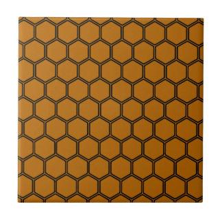 Hexágono anaranjado quemado 3 azulejo cuadrado pequeño