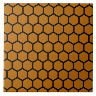 Hexágono anaranjado quemado 4 azulejo cuadrado grande