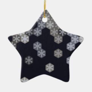 Hexágonos azules y grises helados del copo de adorno navideño de cerámica en forma de estrella