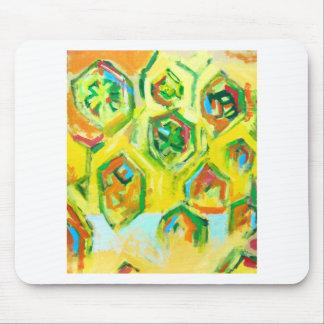 Hexágonos crudos verdosos (expresionismo geométric mouse pads