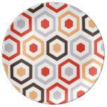 Hexágonos retros plato de cerámica