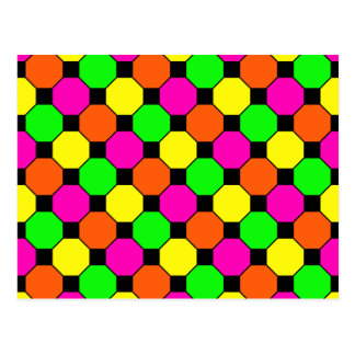 Hexágonos verdes anaranjados de las casillas tarjetas postales