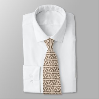 hexagons and triangles brow beige graphic design tie