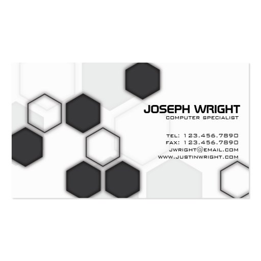 Hexagons - Black Business Card