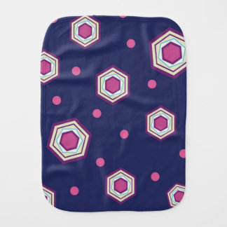 Hexagons Blue Baby Burp Cloth