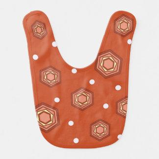 Hexagons Burnt Orange Baby Bib
