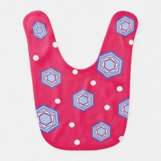 Hexagons Crimson Pink Baby Bib