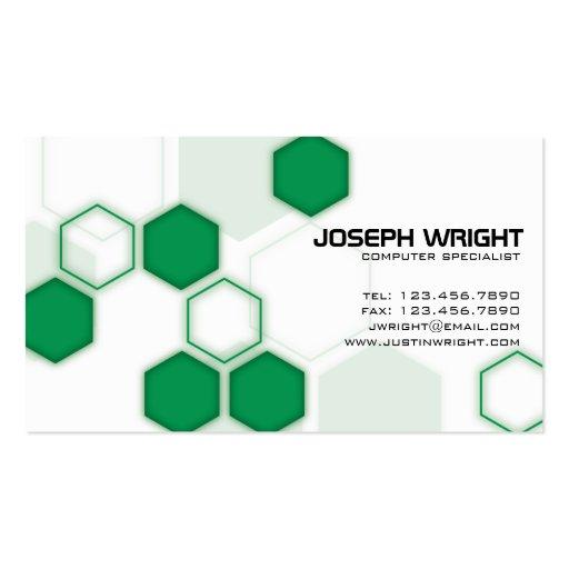 Hexagons - Green Business Cards