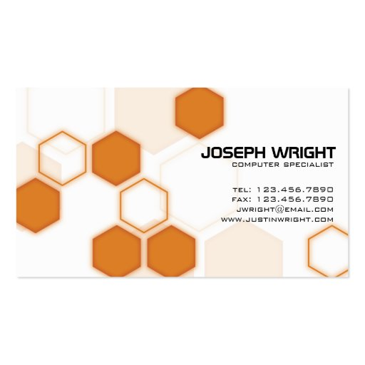 Hexagons - Orange Business Card