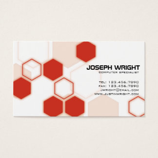 Hexagons - Red Business Card