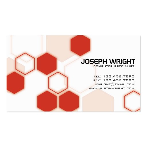 Hexagons - Red Business Card Template