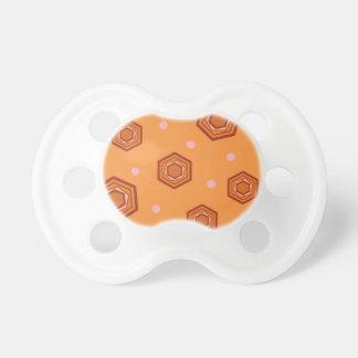 Hexagons Sherbet Orange Baby Pacifier