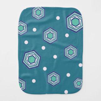 Hexagons Teal Baby Burp Cloth