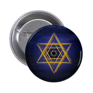 Hexagram gold & blue sacred geometric symbol pinback button