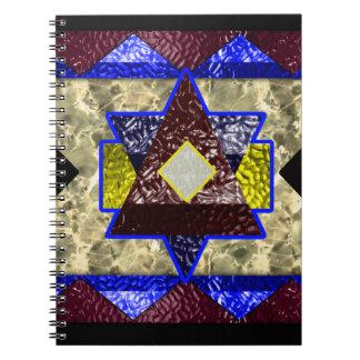 hexagram marble spiral notebook