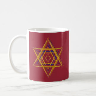 Hexagram sacred geometry blue and gold coffee mug
