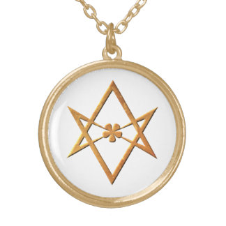 Hexagram Unicursal de oro - símbolo thelemic Colgante Redondo