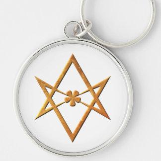 Hexagram Unicursal de oro - símbolo thelemic Llavero Redondo Plateado