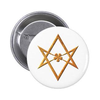 Hexagram Unicursal de oro - símbolo thelemic Pin Redondo 5 Cm