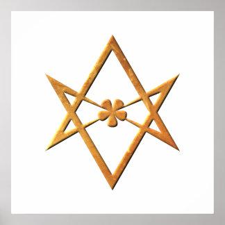 Hexagram Unicursal de oro - símbolo thelemic Póster