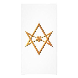 Hexagram Unicursal de oro - símbolo thelemic Tarjeta Fotográfica