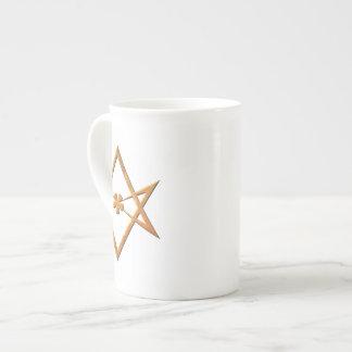 Hexagram Unicursal de oro - símbolo thelemic Taza De China