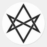 Hexagram unicursal entretejido pegatina redonda