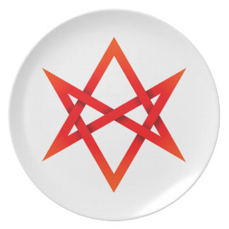 Hexagram Unicursal rojo 3D Platos Para Fiestas