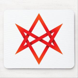Hexagram Unicursal rojo 3D Tapetes De Ratón