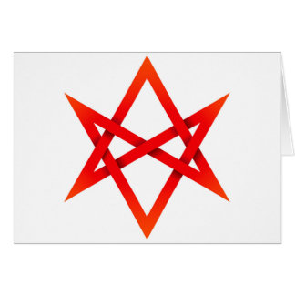 Hexagram Unicursal rojo 3D Tarjeta De Felicitación