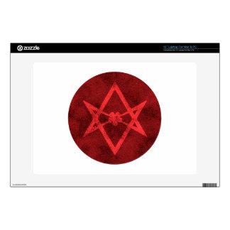 Hexagram Unicursal (rojo texturizado) 33cm Portátil Calcomanías