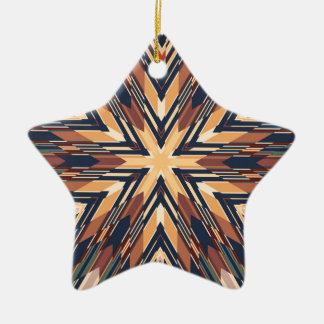 Hexagrphic Design in Brown, Beige and Black Ceramic Ornament