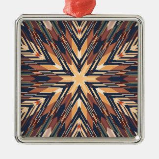 Hexagrphic Design in Brown, Beige and Black Metal Ornament