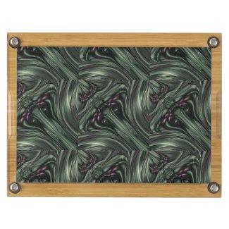 Hexed Digital Fractal Design Rectangular Cheese Board