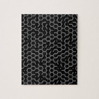 Hexo x1x pattern Grey on Black Jigsaw Puzzle