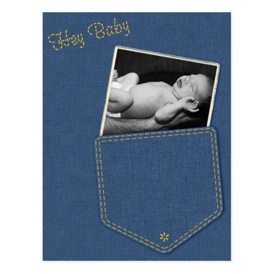 Hey Baby Denim Birth Announcement Postcard