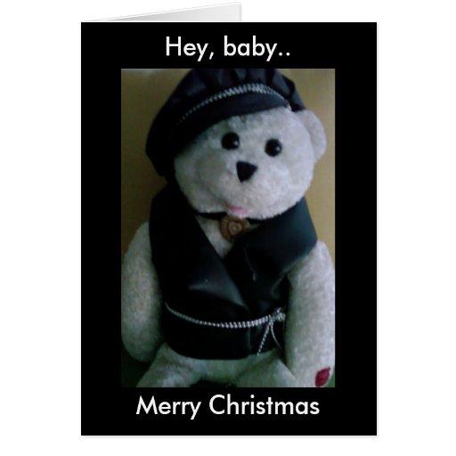 HEY, BABY MERRY CHRISTMAS (BIKER TEDDY BEAR) GREETING CARD