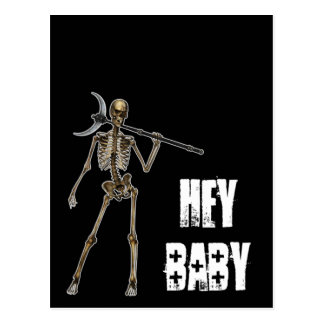 HEY BABY Skeleton Creep Black Postcard